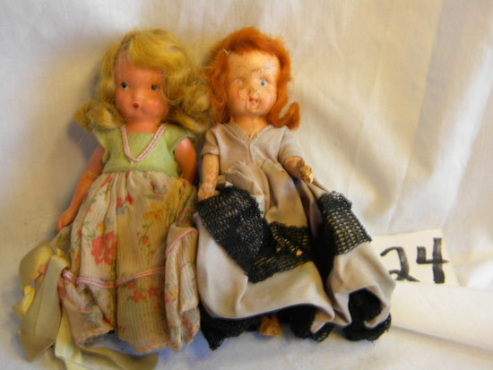 "Storybook Like Unmarked Pair Of Dolls, Painted Eyes, 5""h."
