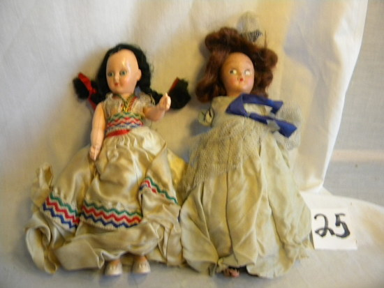 "Dolls, Pair, Unmarked, Mechanical Eyes, Red Hair (has Damage), 7""h."