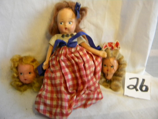 """Storybook Like Dolls, 5""""h, Two Extra Heads. Porcelain Faced Doll, 11""""h,"""
