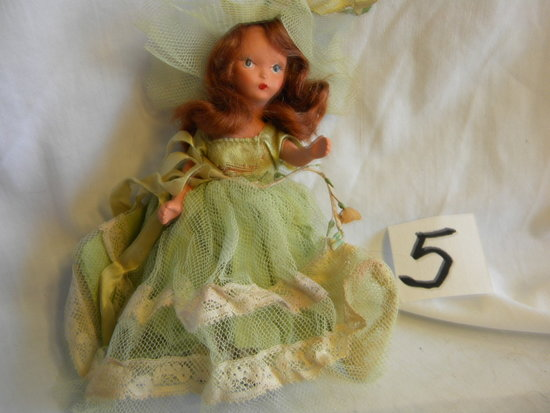 "Story Book Doll #87, ""bridesmaid"", 5""h, W/box."