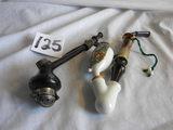 Pair Pipes=ceramic Bowl, Bull Moose Design, 7'l; Wood Bowl & Stem, 6