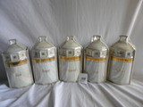 German Made , By White Block, Pearl Glazed Ceramicss W/lids = (5) Sugar, Coffee,