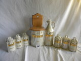 German Made, By White Block, Pearl Glazed Ceramic= 6 Spice Containeser, Nutmeg