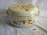 Halls Superior Kitchenware = Casserole Dish W/lid, 4 1/2