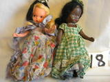 Pair Of Story Book Dolls With Painted Eyes, Black & White. 5