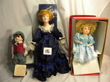Three= Knowles, Bisque Face Doll, Green Dress &hat, Fixed Eyes, Box, 12