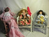 Three Unmarked Dolls In Wicker Chairs, Fixed Eyes,