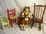 Pair Of Rockers W/unmarked Dolls, 8