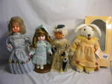 Three Micellaneous Fixed Eyes Dolls And A Stuffed Rabbit, 10-12