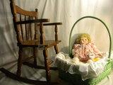 Doll In Wicker Basket W/fixed Eye Victorian Ashley Original Doll.