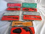 Mint Gun Club Miniatures Display, (10), W/case= 45 Cal; 44 Mag; Tommy Gun;