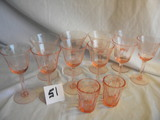 Pink Depression= 6 Stem Etched Wine Glasses; 4 Stemmed Etched Sampler Glass