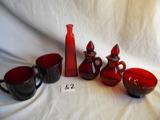 Avon Red Variety= (pair) Pitchers; Cream/sugar; Sugar Bowl; Vase.