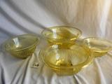 (4) Depression Yellow, Nesting Bowls, 5