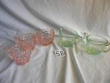 Depression Pink, Diamond Pattern= (2) Creamers, Sugar Bowl, 3