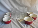 (6) Corell Soup Bowls; (4) Water Glasses; (4) Juice Glasses.