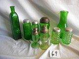 Depression Green= 7 Misc. Pieces- Salt And Peppers, Bottle, Vase