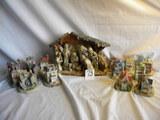 Ceramic Manger Scene; 14 Piece Village Pieces, 2