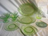 Depression Green= Swirl Pattern Ice Cream Stem Bowl; Etched Rectangular Ser