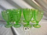 Depression Green= (9) Stem Pattern Water Glasses; (6) Stem Ice Cream Bowls.
