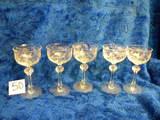 Five Etched Stem Goblets