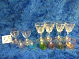 (7) Multi Colored Brand Sniffers; Pair Blue Sample Glasses; (4) Etched Stem