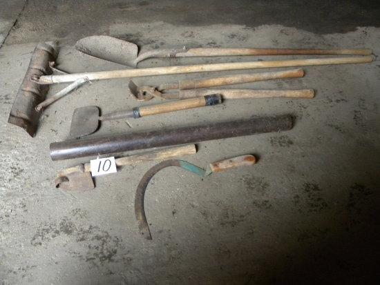 Scythe, Metal Post Driver, Scrapers, Shovel.