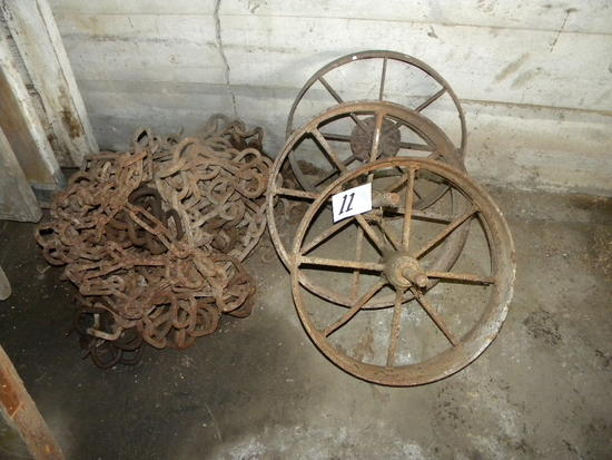 Tractor Chains; Three Old Steel Wheels
