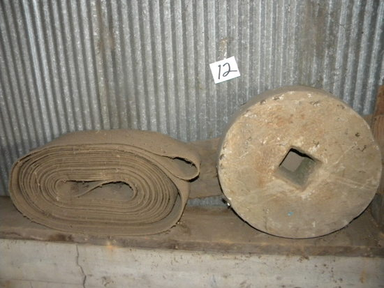 Old Grinding Wheel With Square Hole; Old Belt For Thresher.