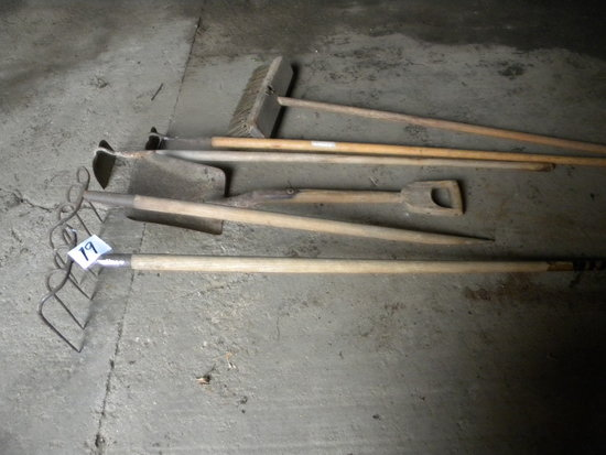 2 Silage Forks; Shovel; Barn Broom; Pair Of Hoes.