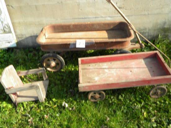 Radio Flyer, Wood Swing Seat; Homemade Cart