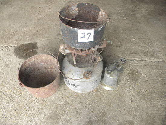 Pair Of Cast Iron Pots; White Gas Heater;