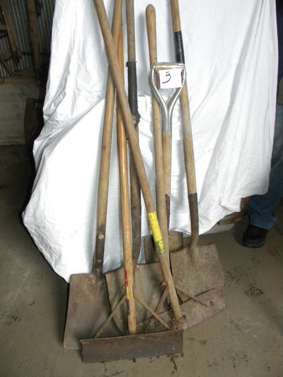 Four Construction Shovels; Pair Barn Scrappers.