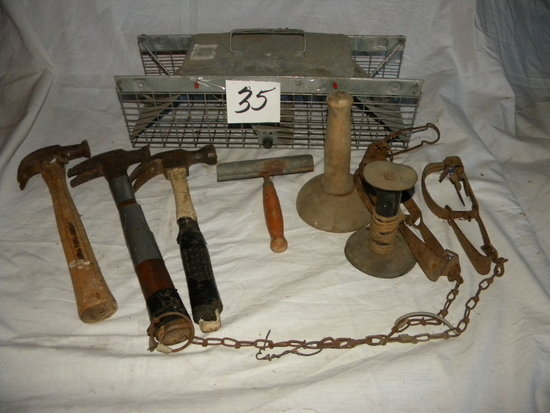Live Animal Trap; (2) Hog Hair Scrapper; 3 Hammers; Pair Of Water Traps; Et