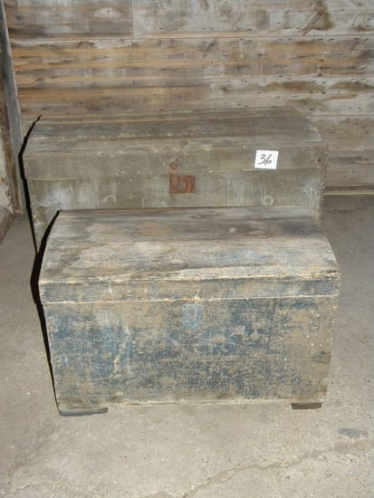 "Pair Of Trunks= Small, 17""x29""x17""; Large, 21""xs1""x20"", Needs Tlc."