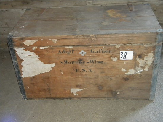 "Swiss Immigration Ship Trunk, Adolph Golfer, Monroe, Wi, Usa ""20""h X 35""w"