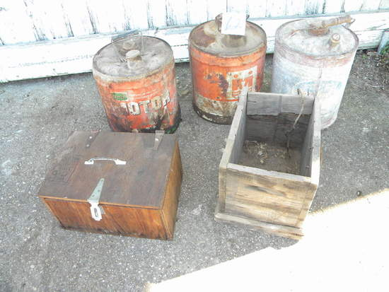 Old Galvanized Fuel Can; Farm Ogle 5 Gal Can; Midland Co-op 5 Gal. Can; Woo