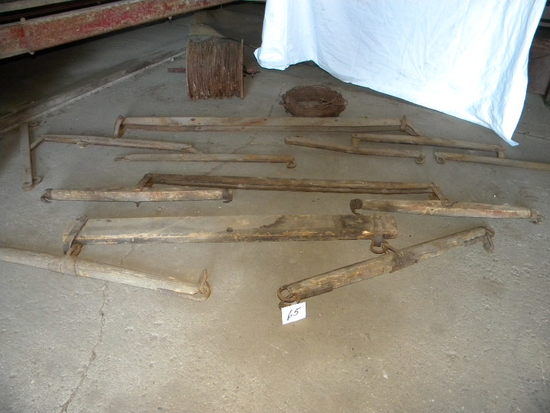 Pair Of Wood Double Trees; Pair Of Metal Double Trees; 1 Four Horse Metal E