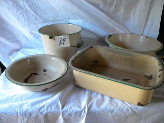Enamel= Tan W/green Edge- Wash Basin; Dish Pan; Rectangle Baking Pan; Pail.