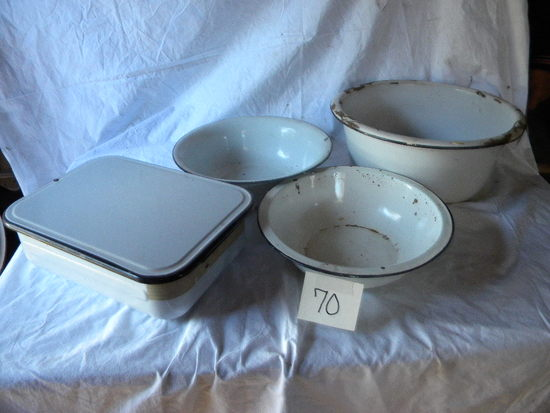 Enamel= White W/black Edge- Pair Wash Bowls; Dish Pan; Refry Pan W/lid; Chi
