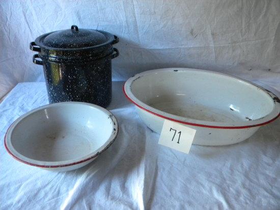 Enamel= Speckle Black Spaghetti Boiler;whte W/red Rim Rectangle Dish Pan;