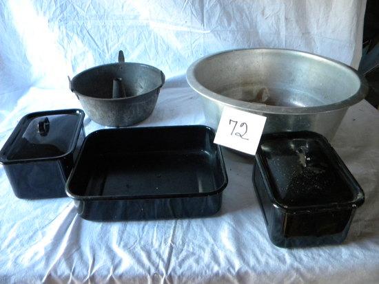 Aluminum 2 Gal Wash Basin; Angel Food Cake; 3 Black Enamel Ref. Pans