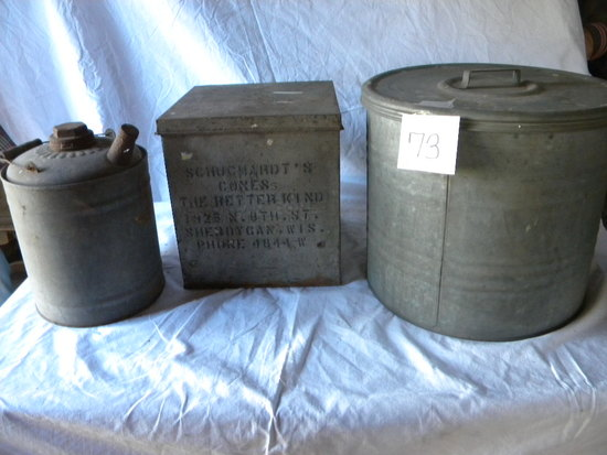 Old Ice Cream Cone Container (rust); Two Gal. Old Fuel Can; 13 X 14 Galv. C