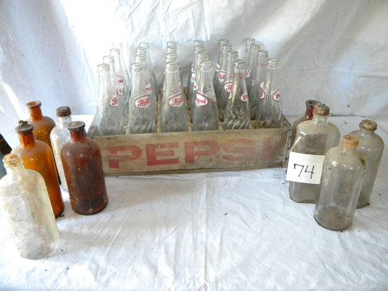 Pepsi Bottles, W/wood Crate; Old Vet Bottles- 4 Brown, 5 Clear.