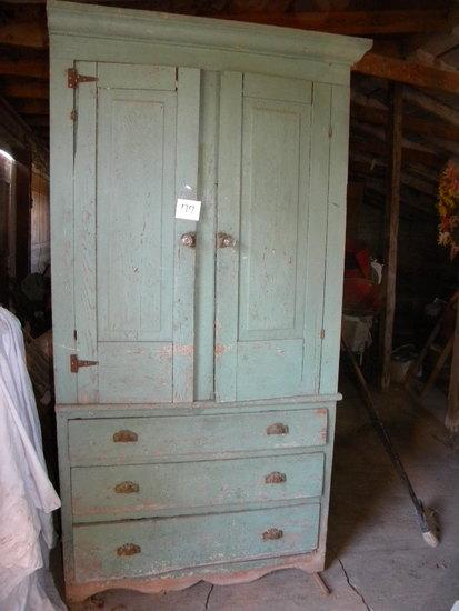 """Old Kitchen Cupboard W/orig Hdw.; 2 Door, 3 Drawer, 81""""h X 40"""" W X 15""""d."""