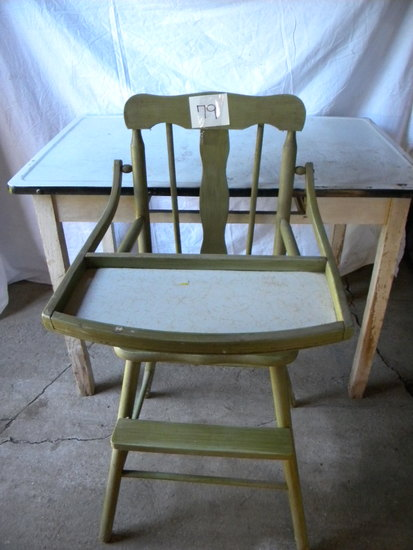 Enamel Top Food Prep Table; Old Children's High Chair.