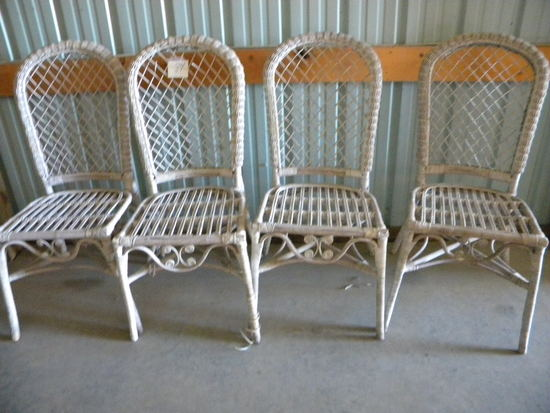 Four Wicker Dining Chairs.