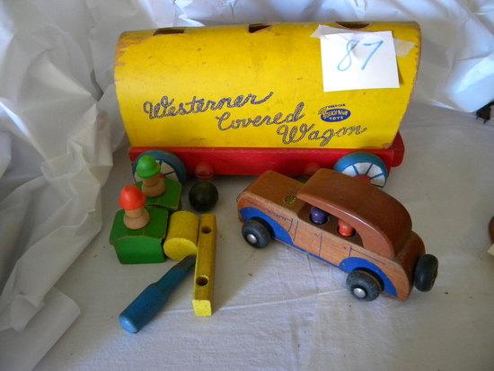 Conestoga Wood Wagon; Holgate Wood Car; Wood Game.