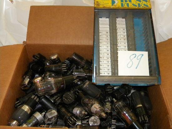 Box Of Old Radio Tubes; Buss Fuse Box Dispenser.
