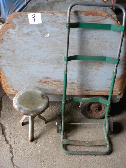 3 Leg Metal Milk Stool, Wood Grain Cart, Freight Cart.